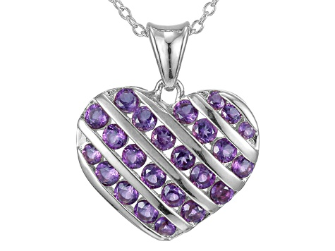 Purple Amethyst Sterling Silver Heart Pendant With Chain 1.08ctw