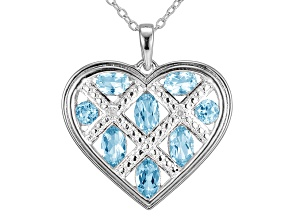 Blue Topaz Sterling Silver Heart Pendant With Chain 1.39ctw