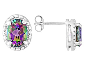 Multi Color Mystic® Topaz Sterling Silver Stud Earrings 2.55ctw.
