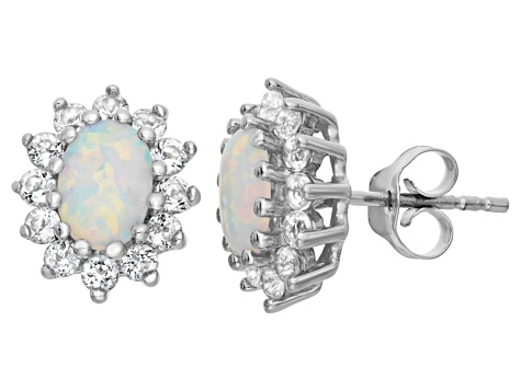 Synthetic Opal And White Topaz Sterling Silver Stud Earrings 1.88ctw