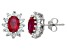Lab Created Ruby And White Topaz Sterling Silver Stud Earrings 1.88ctw