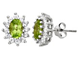 Peridot And White Topaz Sterling Silver Stud Earrings 1.88ctw
