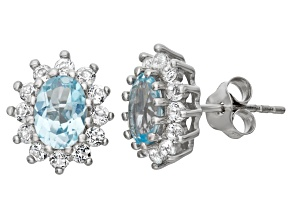 Blue And White Topaz Sterling Silver Stud Earrings 1.88ctw