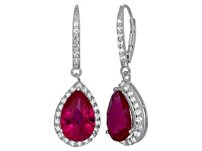 Lab Created Red Ruby And Lab Created White Sapphire Sterling Silver Dangle Earrings
