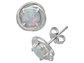 Synthetic Opal Sterling Silver Stud Earrings 1.68ctw