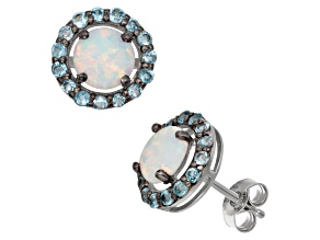 Synthetic Opal And Swiss Blue Topaz Sterling Silver Stud Earrings 2.13ctw