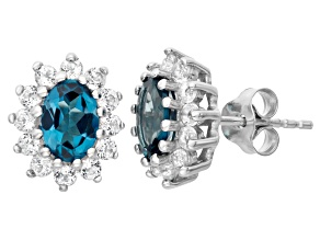 London Blue Topaz And White Topaz Sterling Silver Stud Earrings 1.88ctw