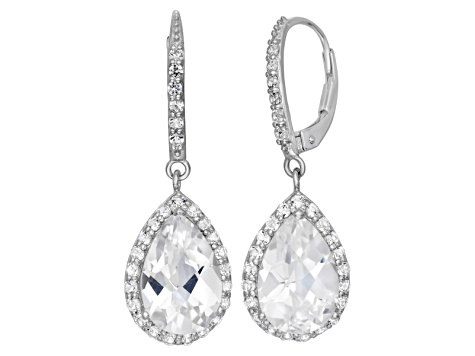 Synthetic White Sapphire Sterling Silver Dangle Leverback Earrings 6 78ctw