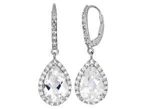 Synthetic White Sapphire Sterling Silver Dangle Leverback Earrings 6.78ctw
