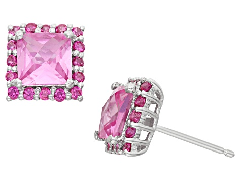 Synthetic Pink Sapphire And Synthetic Ruby Sterling Silver Stud Earrings 2.96ctw