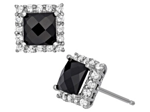 Black Onyx And Synthetic White Sapphre Sterling Silver Stud Earrings 2.96ctw