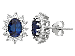Synthetic Blue Sapphire And White Topaz Sterling Silver Stud Earrings 1.88ctw