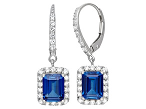 Lab Created Blue And White Sapphire Sterling Silver Earrings 4.20ctw