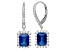 Lab Created Blue Sapphire And White Sapphire Sterling Silver Earrings