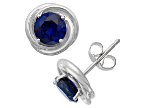 Lab Created Blue Sapphire Sterling Silver Stud Earrings 1.68ctw