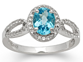 Swiss Blue Topaz And Synthetic White Sapphire Sterling Silver Ring 1.50ctw