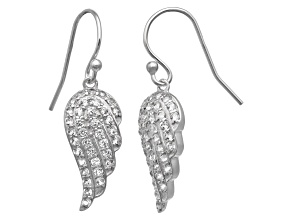 Synthetic White Sapphire Sterling Silver Fish Hook Angel Wings Earrings 1.08ctw