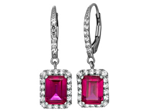 Synthetic Red Ruby And Synthetic White Sapphire Sterling Silver Dangle Earrings
