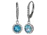 Swiss Blue Topaz And Synthetic White Sapphire Sterling Silver Dangle Earrings