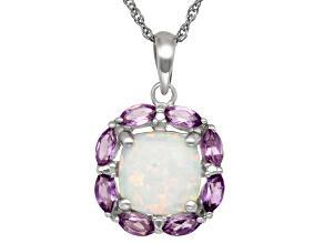 Synthetic Opal And Purple Amethyst Sterling Silver Pendant 2.84ctw