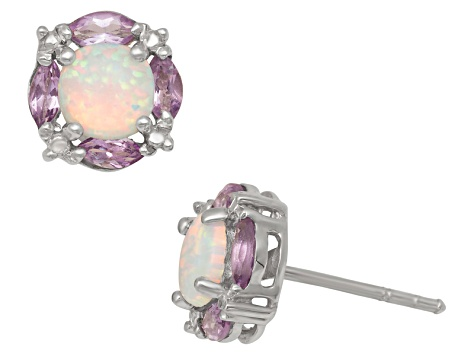 Synthetic Opal And Amethyst Silver Stud Earrings 1.72ctw