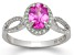 Synthetic Pink And White Sapphire Sterling Silver Ring 1.50ctw