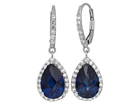 Synthetic Blue Sapphire And Synthetic White Sapphire Sterling Silver Earrings