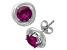 Synthetic Ruby Sterling Silver Stud Earrings 1.68 Ctw