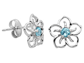 Blue Topaz Sterling Silver Floral Earrings .20ctw