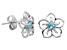 Blue Topaz Sterling Silver Floral Earrings .20ctw