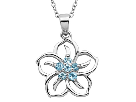 Blue Topaz Sterling Silver Floral Pendant With Chain .21ctw