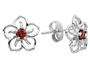 Red Garnet Sterling Silver Floral Earrings .25ctw