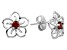 Red Garnet Sterling Silver Floral Earrings .25ctw