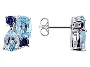 Blue Topaz Sterling Silver Earrings 3.26ctw