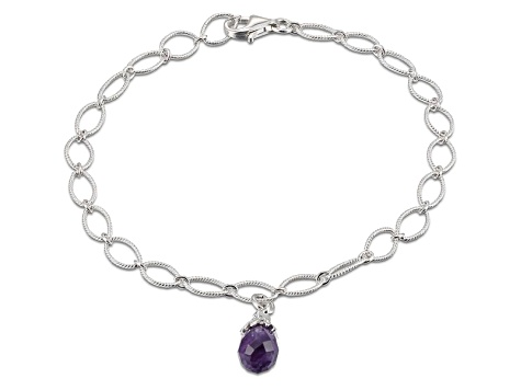 Purple Amethyst Sterling Silver Bracelet 7 inches 1.68ct