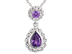 Purple Amethyst Sterling Silver Necklace 18 inches .94ctw
