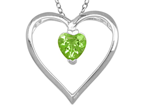 Green Peridot Sterling Silver Pendant With Chain .68ctw