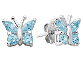 Blue Topaz Sterling Silver Butterfly Earrings .91ctw