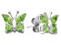 Green Peridot Sterling Silver Butterfly Earrings .86ctw