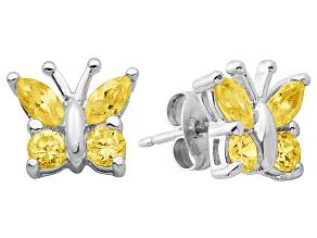 Orange Citrine Sterling Silver Butterfly Earrings .70ctw