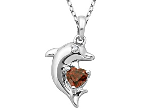 Red Garnet Sterling Silver Dolphin Pedant With Chain .49ctw