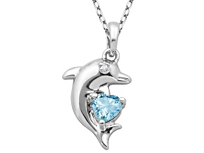 Blue Topaz Sterling Silver Dolphin Pedant With Chain .49ctw