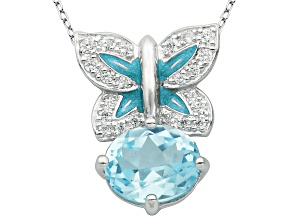 Blue Topaz Sterling Silver Pendant With Chain 3.10ctw