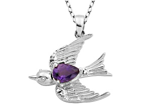 Purple Amethyst Sterling Silver Bird Pendant With Chain .53ct