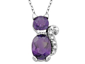 Purple Amethyst Sterling Silver Cat Pendant With Chain 1.26ctw