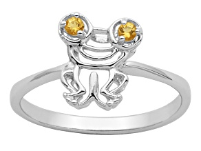 Yellow citrine sterling silver frog ring .05ctw