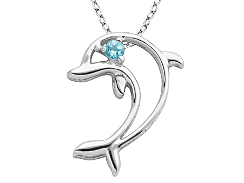 Blue Topaz Sterling Silver Dolphin Pendant With Chain 03ct
