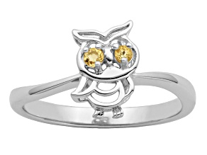 Yellow Citrine Sterling Silver Owl Ring .04ctw