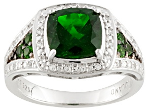 Green Russian Chrome Diopside Sterling Silver Ring 2.31ctw.