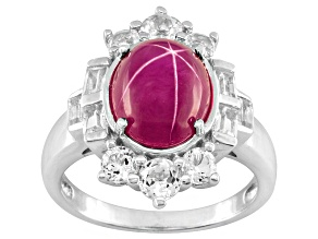 Pink Lab Created Sapphire Sterling Silver Ring 1.23ctw